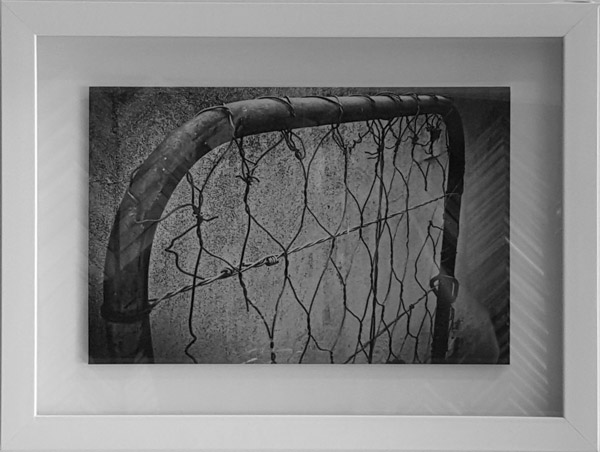 Black & white photograph: rust-covered little gate. Box-framed, plain white frame. Recommended to be part 3 of a set of 3.
