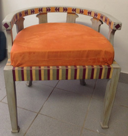 Wooden English New Art Chair with orange cushion