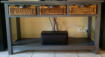 Wooden console table with ratang & leather drawers